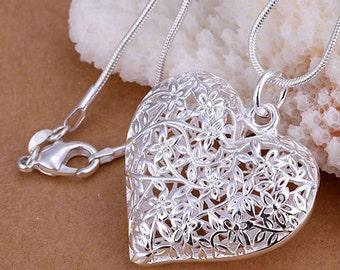 Sterling silver Large heart pendant necklace! -FREE shipping