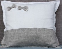 White linen decorative pillow with border and hand made bows in natural grey linen 18''x18''(45x45cm)  Linen Home Decor
