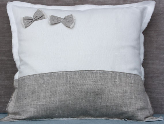 White Linen Throw Pillow : White linen decorative pillow with border and by LinenHomeDecor