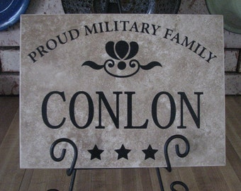 Personalized Military Tile easel NOT included