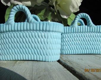 Sowerby Victorian Blue Milk Glass Vitro Porcelain Basket Bowl Peacock marked
