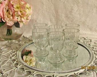 Vintage Thick Cut Glass Set of Six Parfait ,Glasses ,Dishes Vintage