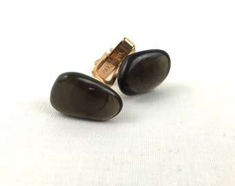 Black Onyx With Gold Vintage Cuff Links