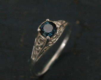 The Cinderella Ring with London Blue Topaz--Antique Style Ring--Unique Engagement Ring--Teal Blue Stone--Filigree Ring--Vintage Style Ring