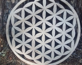 Flower Of Life Sacred Geometry Wood Carving (Blank)