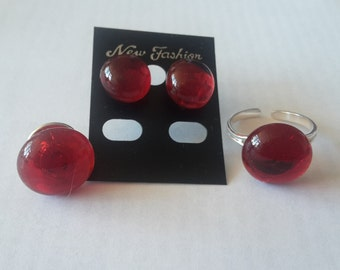 jewelry set with molten glass