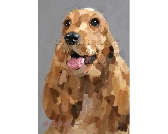 DIGITAL PORTRAIT of a DOG American Water Spaniel v2. Printable image.