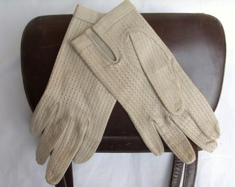 French Vintage Gloves Leather Driving Size 6 1/4 Cream