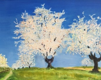 """Original oil painting, fine art impasto impressionism, """"Spring Landscape"""""""