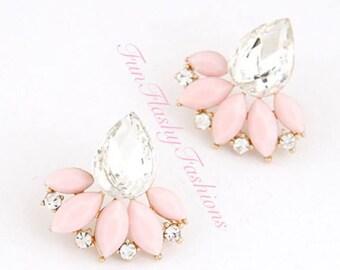 Statement flower earrings, pastel pink