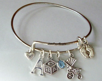 Baby Charm Bangle W/ Baby Feet / Carriage / ABC Block / Bangle W/ Birthstone / Initial Charms New Mothers  Gift For Her  Usa NM1