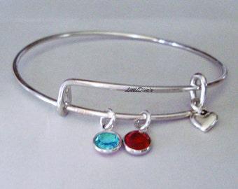 Two Swarovski Birthstones Crystal Charm  Bracelet  / Bangle /  Under Twenty/ Wedding / Bridal / Flower Girl / Gifts  BS1