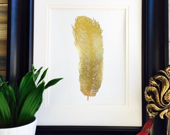 Gold Foil Feather Print, Bird Wall Art Home Decor, Rose Gold Foil Accessories For Room