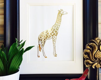 Giraffe Print, Giraffe Art, Gold Foil prints, Home Decor, african animals, safari theme, giraffe nursery