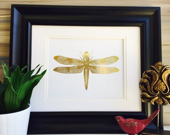 Dragonfly, Art Prints, Gold Foil Print, Insect Art, Dragon Fly Print, Dragon flies, Home Decor, Bug Art, Insect print, gold dragonfly print