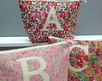 Liberty Print Initial Wash Bag/Personalised Wash Bag/Bridal Toiletry Bag/Monogram wash bag/Bridesmaid Zipper Pouch/Bridal Hen Party Gift