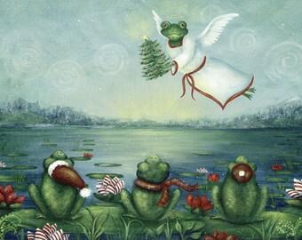 Frog Art Print, Frog Print, Art Print of Flying Frog Angel, Frog collector, Christmas print for kids.