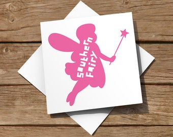 FREE delivery – General blank card with pink Southern Fairy design, suitable for birthdays