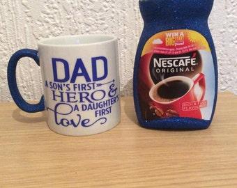 Fathers day / Christmas glitter mug and coffee set.