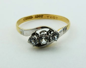 Trilogy twist 18ct gold white stone ring