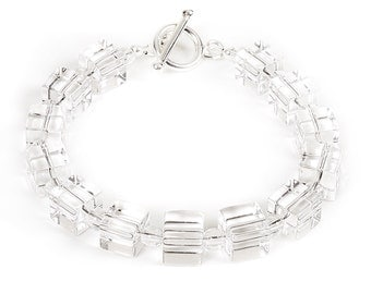 Ice - bracelet of rock crystal and sterling silver