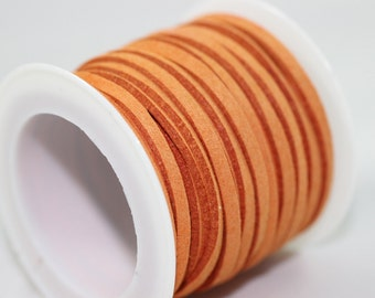 Orange Faux Suede Cord, 5mt/ 10mt/ 20mt/ 50m Faux Suede Cord, Suede Cord for Jewelry Accessories