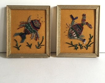 Vintage Beaded Fish Pictures