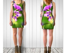 Fitted Dress, Bodycon Dress, Purple Flower Dress, Nature Dress, Floral Dress, Short Dress, Nature Clothing, Purple and Green, Magical Dress