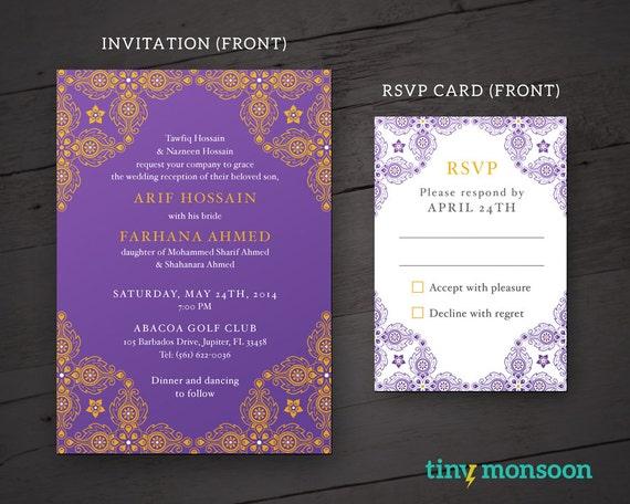 royal purplegold indian diy wedding invitation - Purple And Gold Wedding Invitations