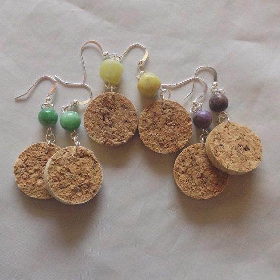 Cork Beads: Wine Cork And Gemstone Bead Earrings By Corksnkrafts On Etsy