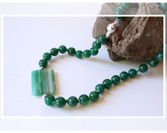 Green Agate necklace and Silver 925