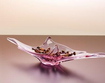 SALE***Glasschale, ungewöhnliche Form, länglich, elegant und dekorativ, rose-lila-Ton