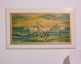 SALE * horse image/painting, 3 white mould galloping at the beach, canvas print into the frame, horses, beach,