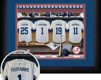 Locker Room Print -MLB-New York Yankees-Personalized!! MATTED and FRAMED