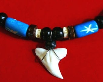 Shark tooth necklace genuine pendant beads Surf surfer jewelry adjustable