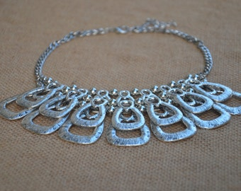 Metal silver statement necklace