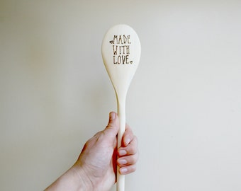 Made With Love - Wood Burned Wooden Spoon - Wooden Cooking Utensil