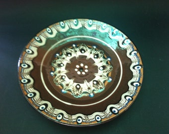Vintage Souvenir Plates, Vintage Traditional Bulgarian Ceramic, Hand Made Pottery, Bulgarian Folk Art Ceramic Glazed Plates, Home Decor