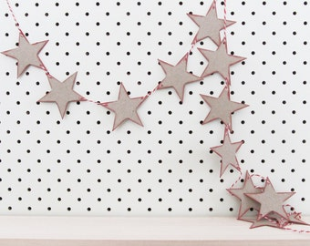 Eco Friendly Vintage Style Star Bunting Banner Garland - 12 stars (each 6.5cm across) plus 3m free twine. Kids Room Decor, Christmas, Party