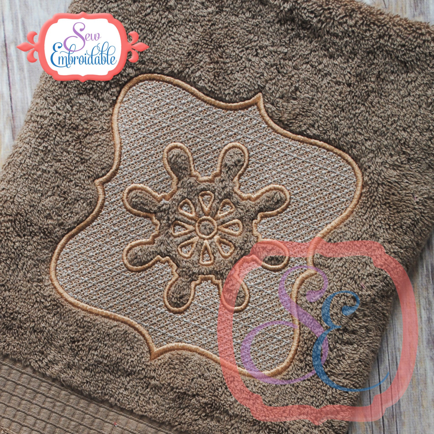 Embossed Boat Wheel Towel Design For Machine Embroidery