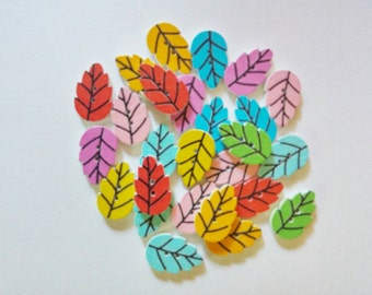 Wooden Leaf Buttons x 8