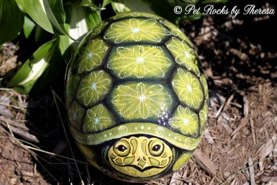 Very Large Hand Painted Turtle Rock Garden Decoration Art Unique One of a Kind