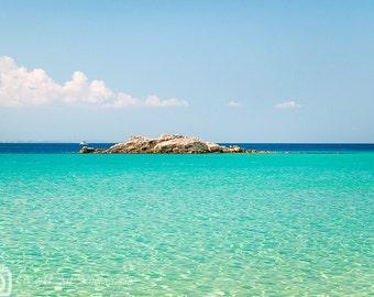 Greek beach, Blue Aqua Turquoise, Canvas print, Photo print, Gallery wrap, Blue sea photo, Wall decor, Home decor, Personalized decor
