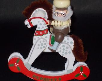 Oh-So-Cute Hershey's Wooden Christmas Ornament. Kurt Adler Wood Santa/Elf On A Rocking Horse Ornament. 1989
