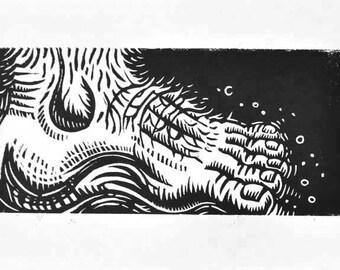 Foot - Linocut Print
