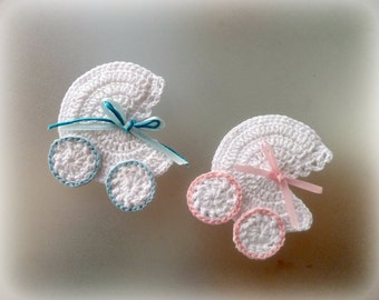 Elegant Crochet Baby Carriage/ Buggy/Stroller/Pram Applique Novelty / Perfect For  Bomboniere,