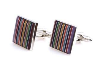 Multi stripped colour cufflinks