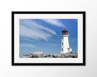 Lighthouse photography poster print. Wall art, photo of Peggy's Point Lighthouse, Peggy's Cove, Nova Scotia