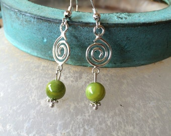Earrings with silver spirals and green beads handmade Birthday, Christmas or Anniversary gift