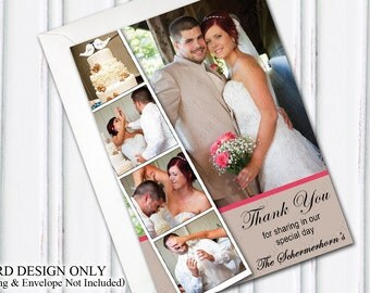 Photo Booth Wedding, Photobooth Thank You, Wedding Thank You Card, Personalized Thank You Card, Filmstrip Card, Multiple Photos, PRINTABLE